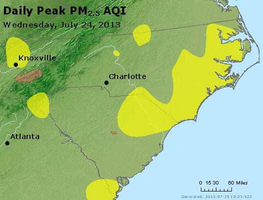 Peak Particles PM2.5 (24-hour) - https://files.airnowtech.org/airnow/2013/20130724/peak_pm25_nc_sc.jpg