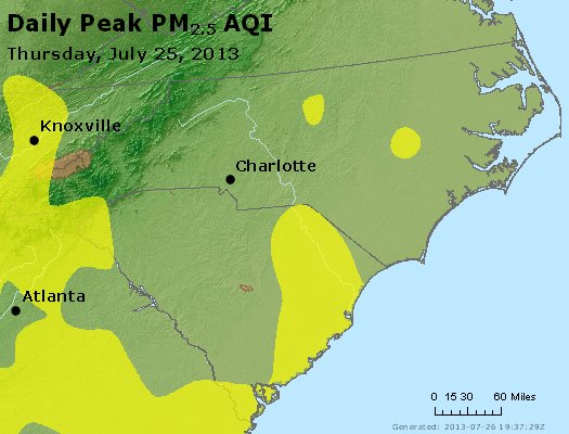 Peak Particles PM2.5 (24-hour) - https://files.airnowtech.org/airnow/2013/20130725/peak_pm25_nc_sc.jpg