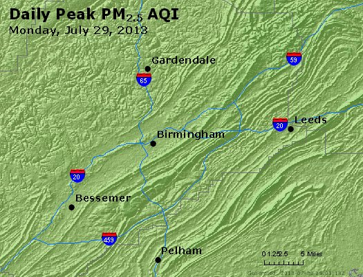 Peak Particles PM<sub>2.5</sub> (24-hour) - https://files.airnowtech.org/airnow/2013/20130729/peak_pm25_birmingham_al.jpg