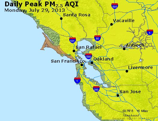 Peak Particles PM<sub>2.5</sub> (24-hour) - https://files.airnowtech.org/airnow/2013/20130729/peak_pm25_sanfrancisco_ca.jpg