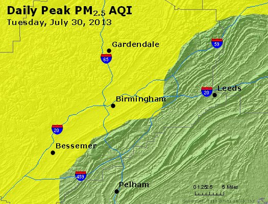 Peak Particles PM<sub>2.5</sub> (24-hour) - https://files.airnowtech.org/airnow/2013/20130730/peak_pm25_birmingham_al.jpg