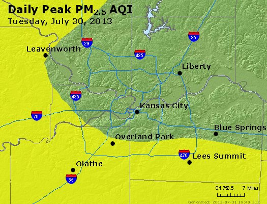 Peak Particles PM<sub>2.5</sub> (24-hour) - https://files.airnowtech.org/airnow/2013/20130730/peak_pm25_kansascity_mo.jpg