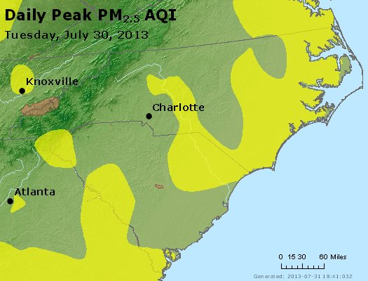 Peak Particles PM2.5 (24-hour) - https://files.airnowtech.org/airnow/2013/20130730/peak_pm25_nc_sc.jpg