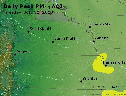 Peak Particles PM<sub>2.5</sub> (24-hour) - https://files.airnowtech.org/airnow/2013/20130730/peak_pm25_ne_ks.jpg