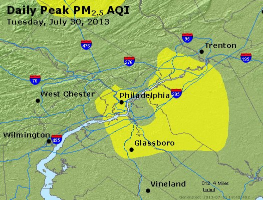Peak Particles PM<sub>2.5</sub> (24-hour) - https://files.airnowtech.org/airnow/2013/20130730/peak_pm25_philadelphia_pa.jpg