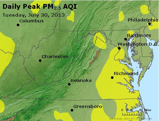 Peak Particles PM<sub>2.5</sub> (24-hour) - https://files.airnowtech.org/airnow/2013/20130730/peak_pm25_va_wv_md_de_dc.jpg