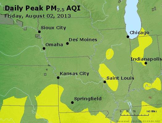 Peak Particles PM<sub>2.5</sub> (24-hour) - https://files.airnowtech.org/airnow/2013/20130802/peak_pm25_ia_il_mo.jpg