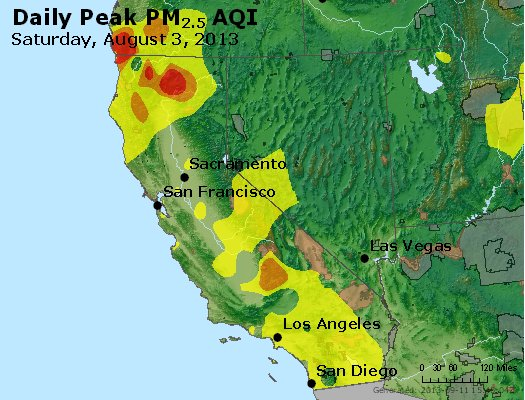 Peak Particles PM<sub>2.5</sub> (24-hour) - https://files.airnowtech.org/airnow/2013/20130803/peak_pm25_ca_nv.jpg