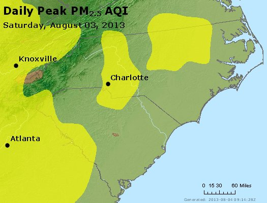 Peak Particles PM<sub>2.5</sub> (24-hour) - https://files.airnowtech.org/airnow/2013/20130803/peak_pm25_nc_sc.jpg