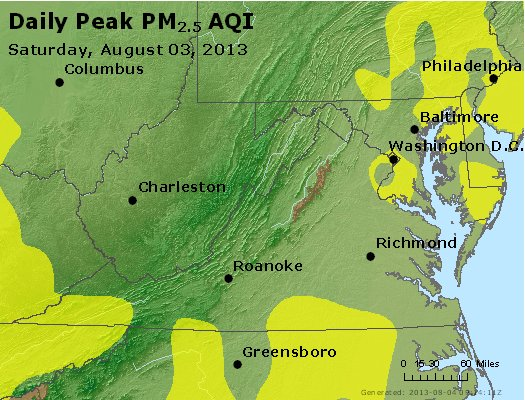 Peak Particles PM<sub>2.5</sub> (24-hour) - https://files.airnowtech.org/airnow/2013/20130803/peak_pm25_va_wv_md_de_dc.jpg