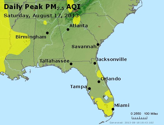 Peak Particles PM<sub>2.5</sub> (24-hour) - https://files.airnowtech.org/airnow/2013/20130817/peak_pm25_al_ga_fl.jpg