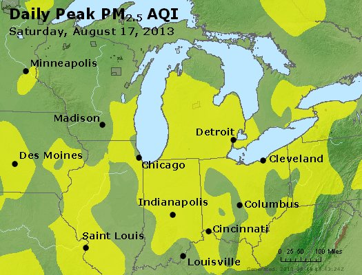 Peak Particles PM<sub>2.5</sub> (24-hour) - https://files.airnowtech.org/airnow/2013/20130817/peak_pm25_mi_in_oh.jpg