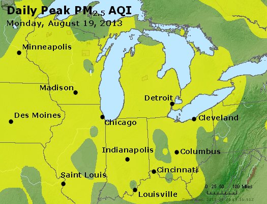 Peak Particles PM<sub>2.5</sub> (24-hour) - https://files.airnowtech.org/airnow/2013/20130819/peak_pm25_mi_in_oh.jpg