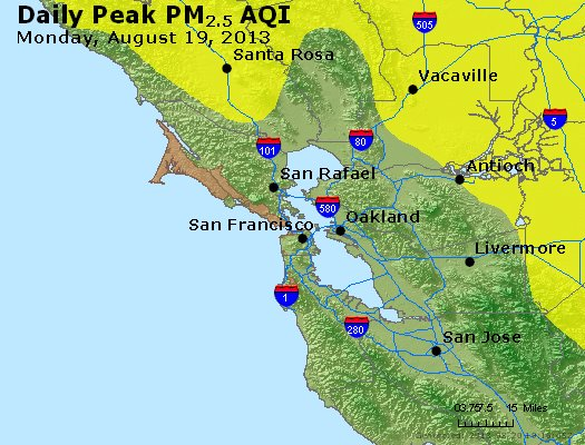 Peak Particles PM<sub>2.5</sub> (24-hour) - https://files.airnowtech.org/airnow/2013/20130819/peak_pm25_sanfrancisco_ca.jpg