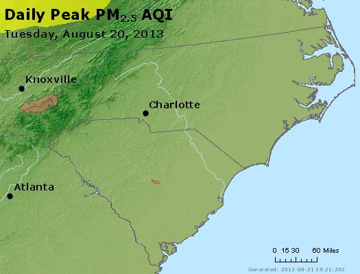 Peak Particles PM<sub>2.5</sub> (24-hour) - https://files.airnowtech.org/airnow/2013/20130820/peak_pm25_nc_sc.jpg