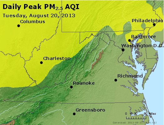 Peak Particles PM<sub>2.5</sub> (24-hour) - https://files.airnowtech.org/airnow/2013/20130820/peak_pm25_va_wv_md_de_dc.jpg
