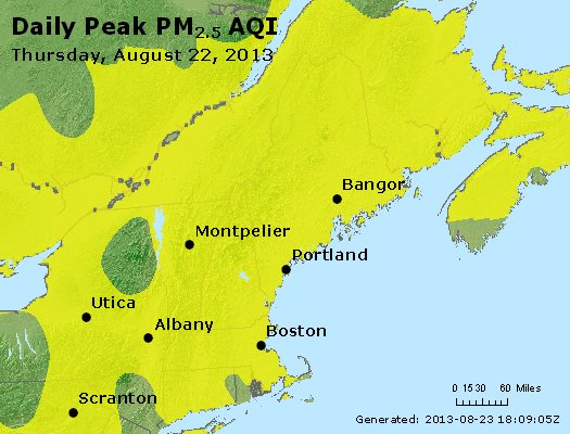 Peak Particles PM<sub>2.5</sub> (24-hour) - https://files.airnowtech.org/airnow/2013/20130822/peak_pm25_vt_nh_ma_ct_ri_me.jpg
