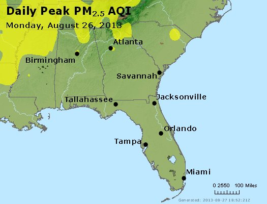 Peak Particles PM<sub>2.5</sub> (24-hour) - https://files.airnowtech.org/airnow/2013/20130826/peak_pm25_al_ga_fl.jpg