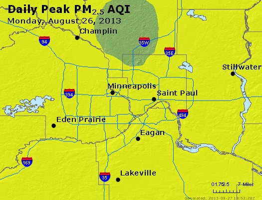 Peak Particles PM<sub>2.5</sub> (24-hour) - https://files.airnowtech.org/airnow/2013/20130826/peak_pm25_minneapolis_mn.jpg