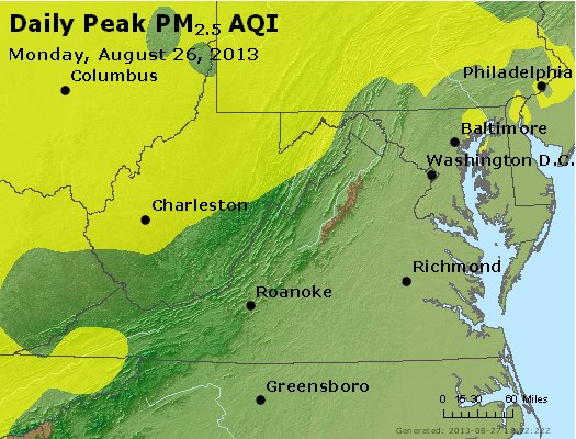 Peak Particles PM<sub>2.5</sub> (24-hour) - https://files.airnowtech.org/airnow/2013/20130826/peak_pm25_va_wv_md_de_dc.jpg