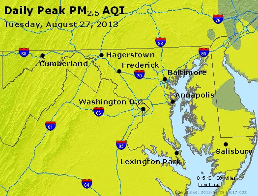 Peak Particles PM<sub>2.5</sub> (24-hour) - https://files.airnowtech.org/airnow/2013/20130827/peak_pm25_maryland.jpg