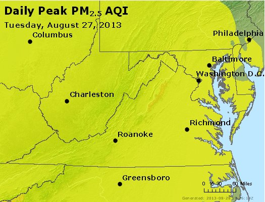 Peak Particles PM<sub>2.5</sub> (24-hour) - https://files.airnowtech.org/airnow/2013/20130827/peak_pm25_va_wv_md_de_dc.jpg