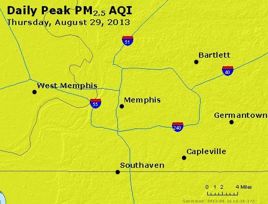 Peak Particles PM<sub>2.5</sub> (24-hour) - https://files.airnowtech.org/airnow/2013/20130829/peak_pm25_memphis_tn.jpg