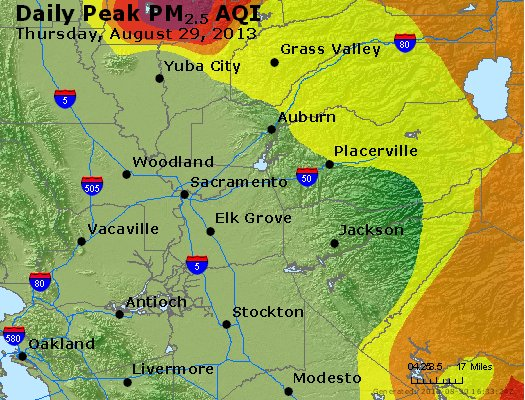 Peak Particles PM<sub>2.5</sub> (24-hour) - https://files.airnowtech.org/airnow/2013/20130829/peak_pm25_sacramento_ca.jpg