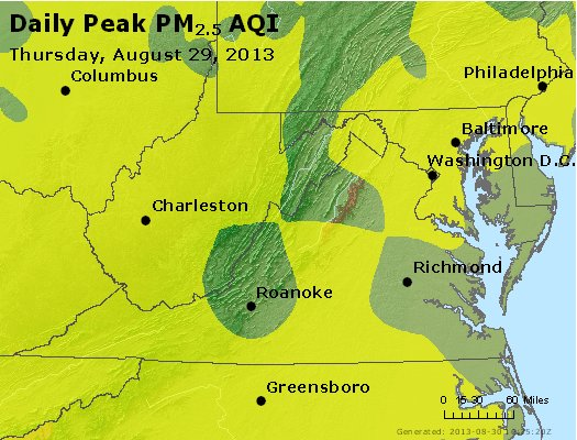 Peak Particles PM<sub>2.5</sub> (24-hour) - https://files.airnowtech.org/airnow/2013/20130829/peak_pm25_va_wv_md_de_dc.jpg