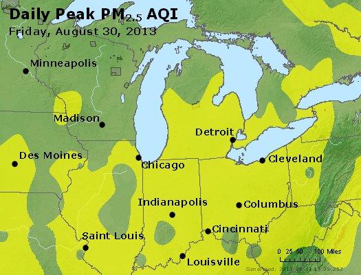 Peak Particles PM<sub>2.5</sub> (24-hour) - https://files.airnowtech.org/airnow/2013/20130830/peak_pm25_mi_in_oh.jpg