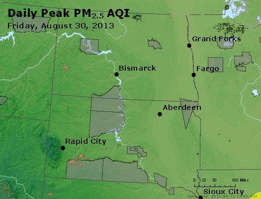 Peak Particles PM<sub>2.5</sub> (24-hour) - https://files.airnowtech.org/airnow/2013/20130830/peak_pm25_nd_sd.jpg