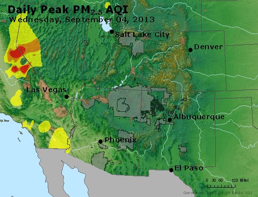 Peak Particles PM<sub>2.5</sub> (24-hour) - https://files.airnowtech.org/airnow/2013/20130904/peak_pm25_co_ut_az_nm.jpg