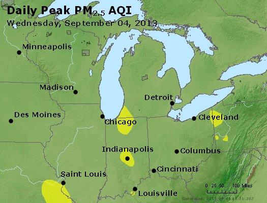 Peak Particles PM<sub>2.5</sub> (24-hour) - https://files.airnowtech.org/airnow/2013/20130904/peak_pm25_mi_in_oh.jpg