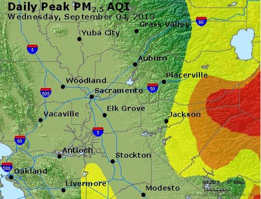 Peak Particles PM<sub>2.5</sub> (24-hour) - https://files.airnowtech.org/airnow/2013/20130904/peak_pm25_sacramento_ca.jpg