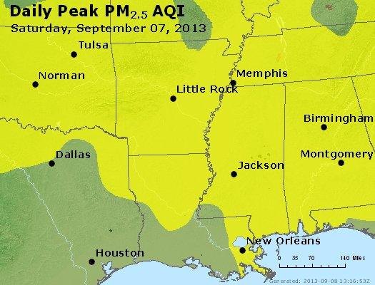 Peak Particles PM2.5 (24-hour) - https://files.airnowtech.org/airnow/2013/20130907/peak_pm25_ar_la_ms.jpg