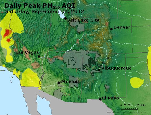 Peak Particles PM<sub>2.5</sub> (24-hour) - https://files.airnowtech.org/airnow/2013/20130907/peak_pm25_co_ut_az_nm.jpg