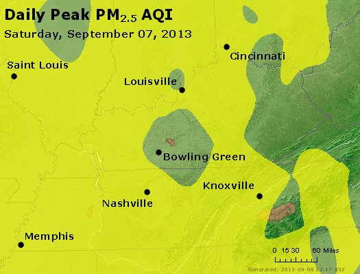 Peak Particles PM<sub>2.5</sub> (24-hour) - https://files.airnowtech.org/airnow/2013/20130907/peak_pm25_ky_tn.jpg
