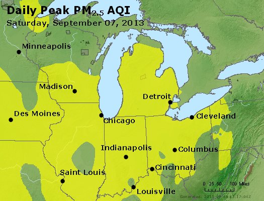 Peak Particles PM<sub>2.5</sub> (24-hour) - https://files.airnowtech.org/airnow/2013/20130907/peak_pm25_mi_in_oh.jpg