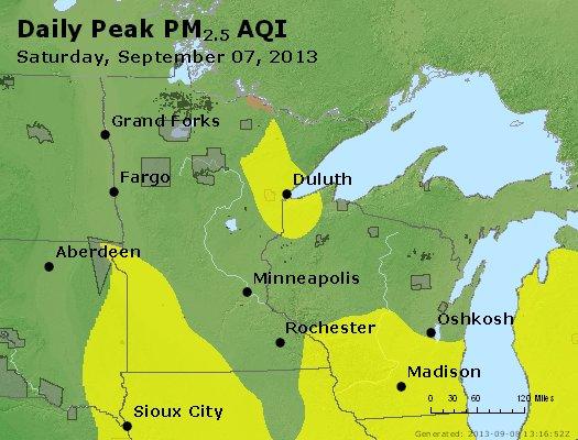 Peak Particles PM<sub>2.5</sub> (24-hour) - https://files.airnowtech.org/airnow/2013/20130907/peak_pm25_mn_wi.jpg