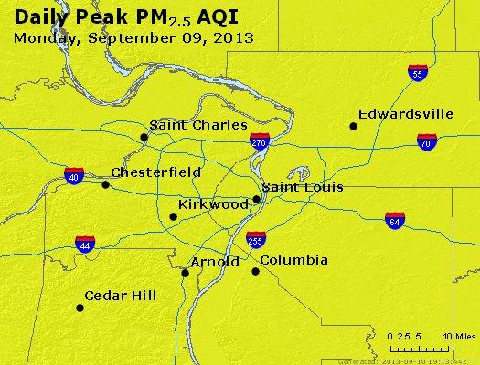Peak Particles PM<sub>2.5</sub> (24-hour) - https://files.airnowtech.org/airnow/2013/20130909/peak_pm25_stlouis_mo.jpg