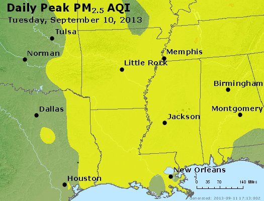 Peak Particles PM<sub>2.5</sub> (24-hour) - https://files.airnowtech.org/airnow/2013/20130910/peak_pm25_ar_la_ms.jpg