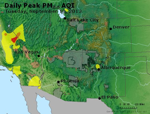 Peak Particles PM<sub>2.5</sub> (24-hour) - https://files.airnowtech.org/airnow/2013/20130910/peak_pm25_co_ut_az_nm.jpg