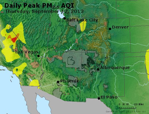 Peak Particles PM<sub>2.5</sub> (24-hour) - https://files.airnowtech.org/airnow/2013/20130912/peak_pm25_co_ut_az_nm.jpg
