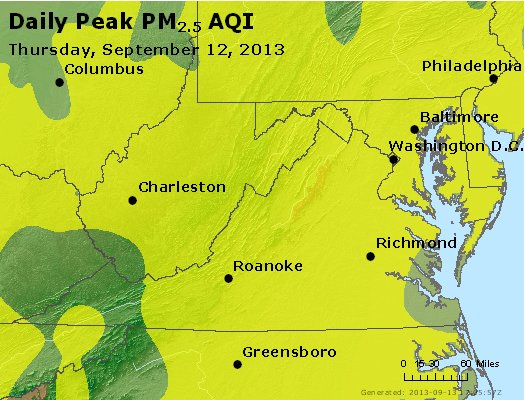 Peak Particles PM<sub>2.5</sub> (24-hour) - https://files.airnowtech.org/airnow/2013/20130912/peak_pm25_va_wv_md_de_dc.jpg