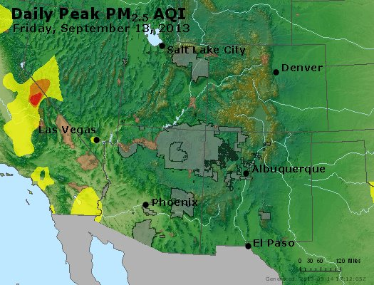 Peak Particles PM<sub>2.5</sub> (24-hour) - https://files.airnowtech.org/airnow/2013/20130913/peak_pm25_co_ut_az_nm.jpg