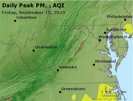 Peak Particles PM<sub>2.5</sub> (24-hour) - https://files.airnowtech.org/airnow/2013/20130913/peak_pm25_va_wv_md_de_dc.jpg