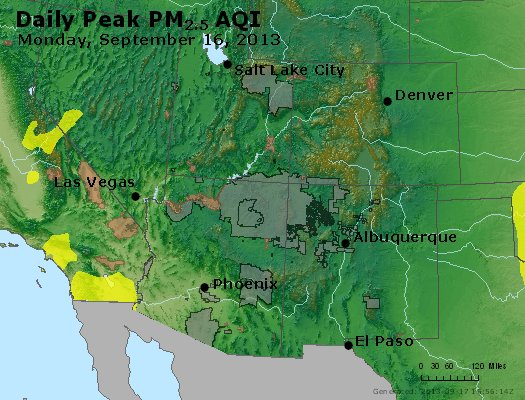 Peak Particles PM<sub>2.5</sub> (24-hour) - https://files.airnowtech.org/airnow/2013/20130916/peak_pm25_co_ut_az_nm.jpg