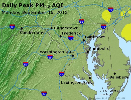 Peak Particles PM<sub>2.5</sub> (24-hour) - https://files.airnowtech.org/airnow/2013/20130916/peak_pm25_maryland.jpg