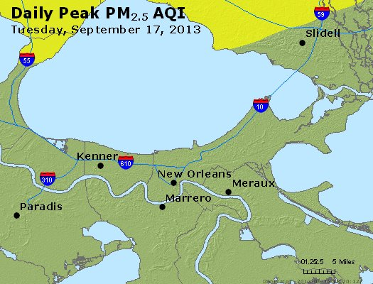 Peak Particles PM<sub>2.5</sub> (24-hour) - https://files.airnowtech.org/airnow/2013/20130917/peak_pm25_neworleans_la.jpg