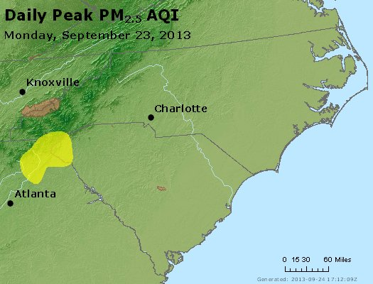 Peak Particles PM2.5 (24-hour) - https://files.airnowtech.org/airnow/2013/20130923/peak_pm25_nc_sc.jpg